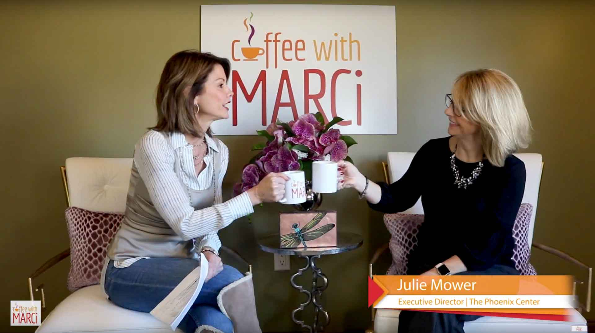 Julie Mower having coffee with Marci