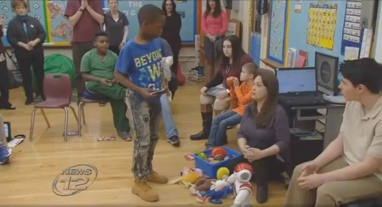 Students learn using programmable robot