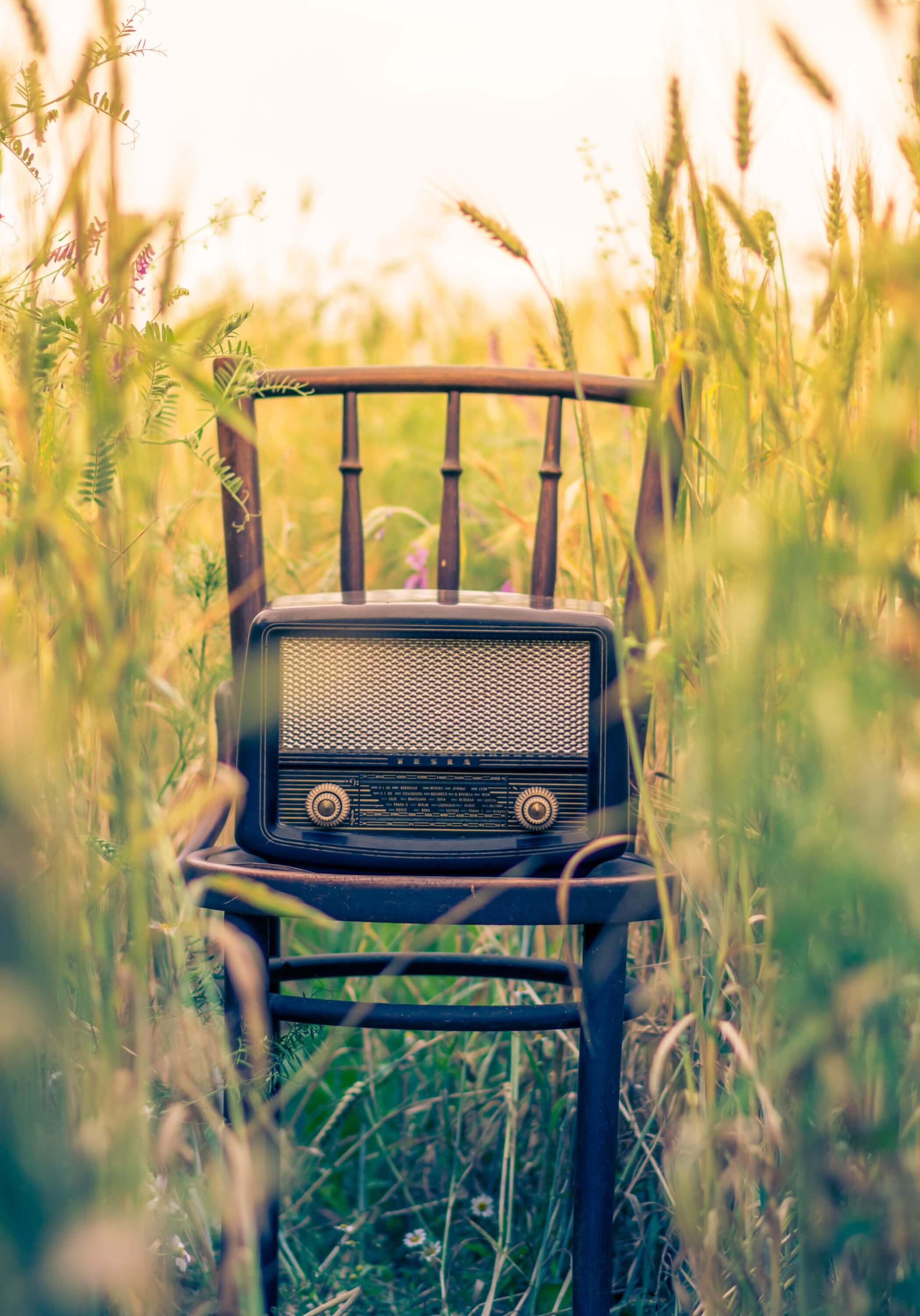 Radio on a chair in a field