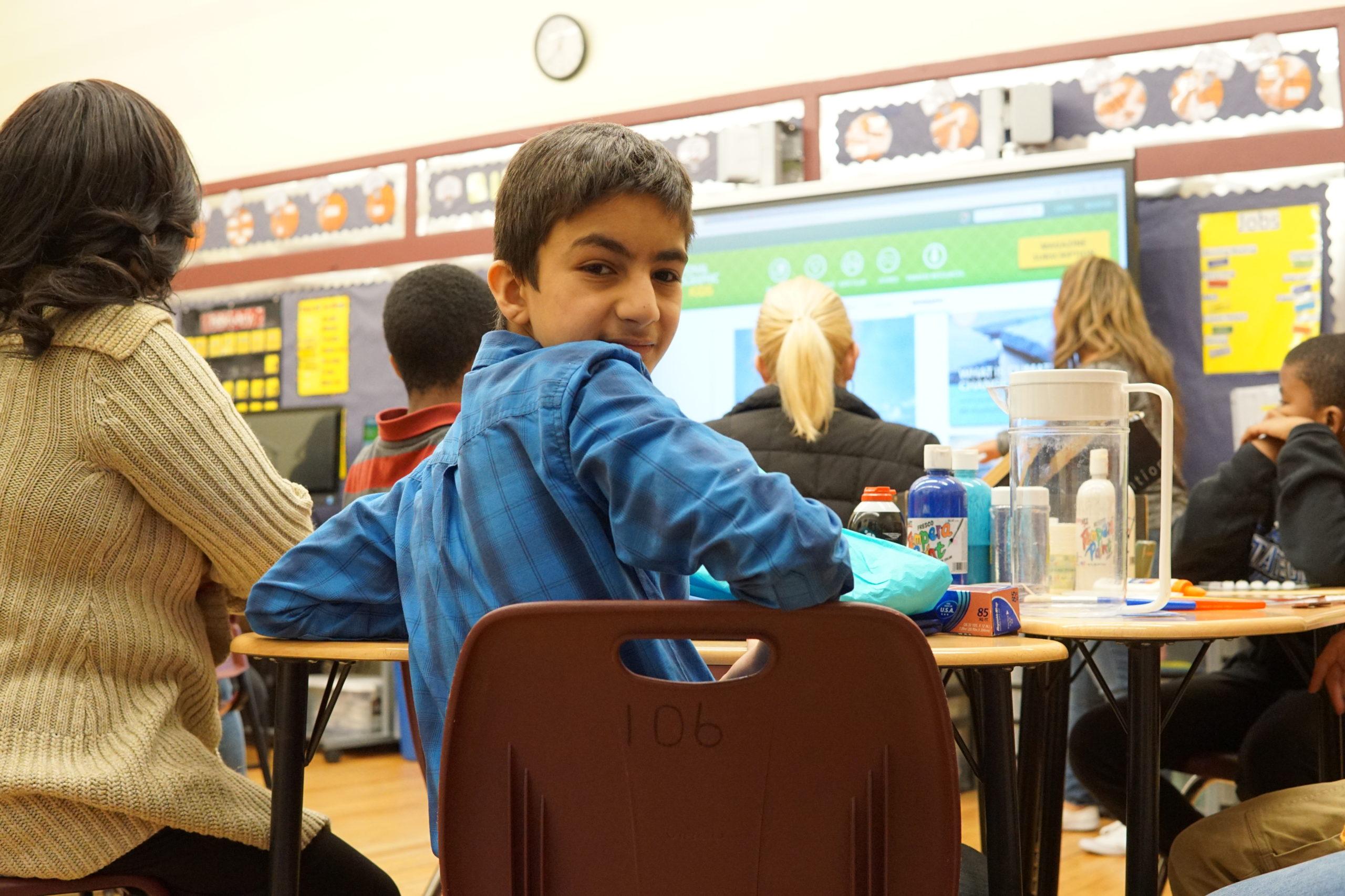 happy student in classroom