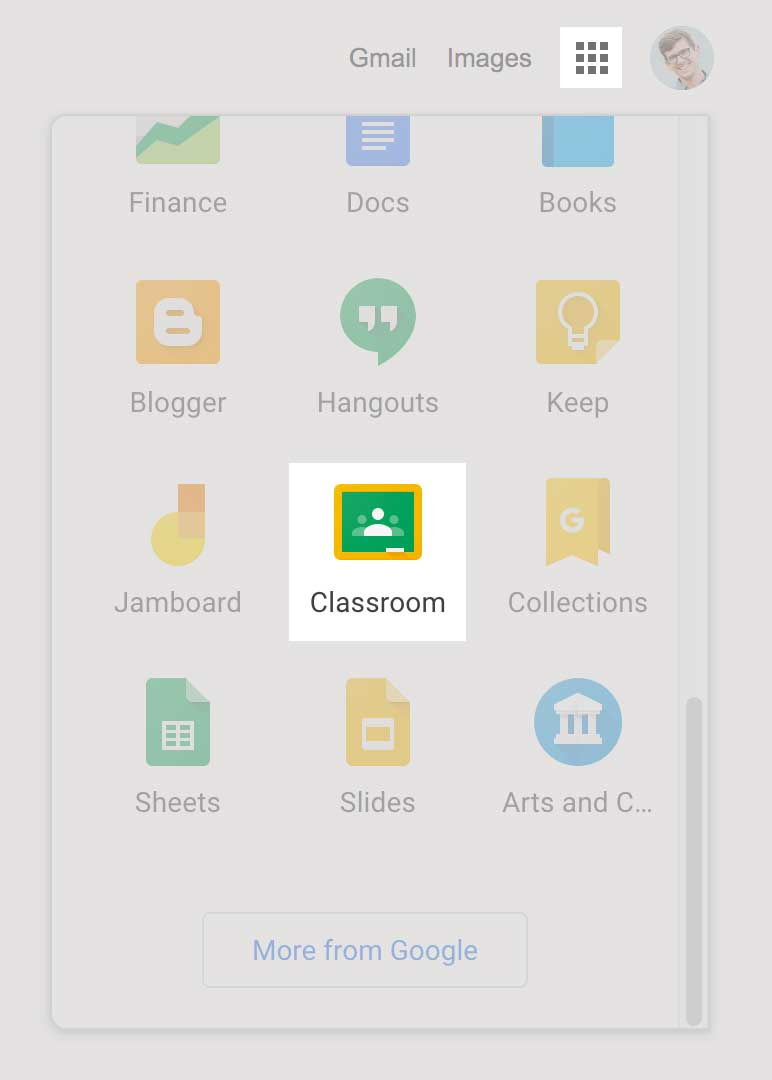 choose google classroom from waffle menu