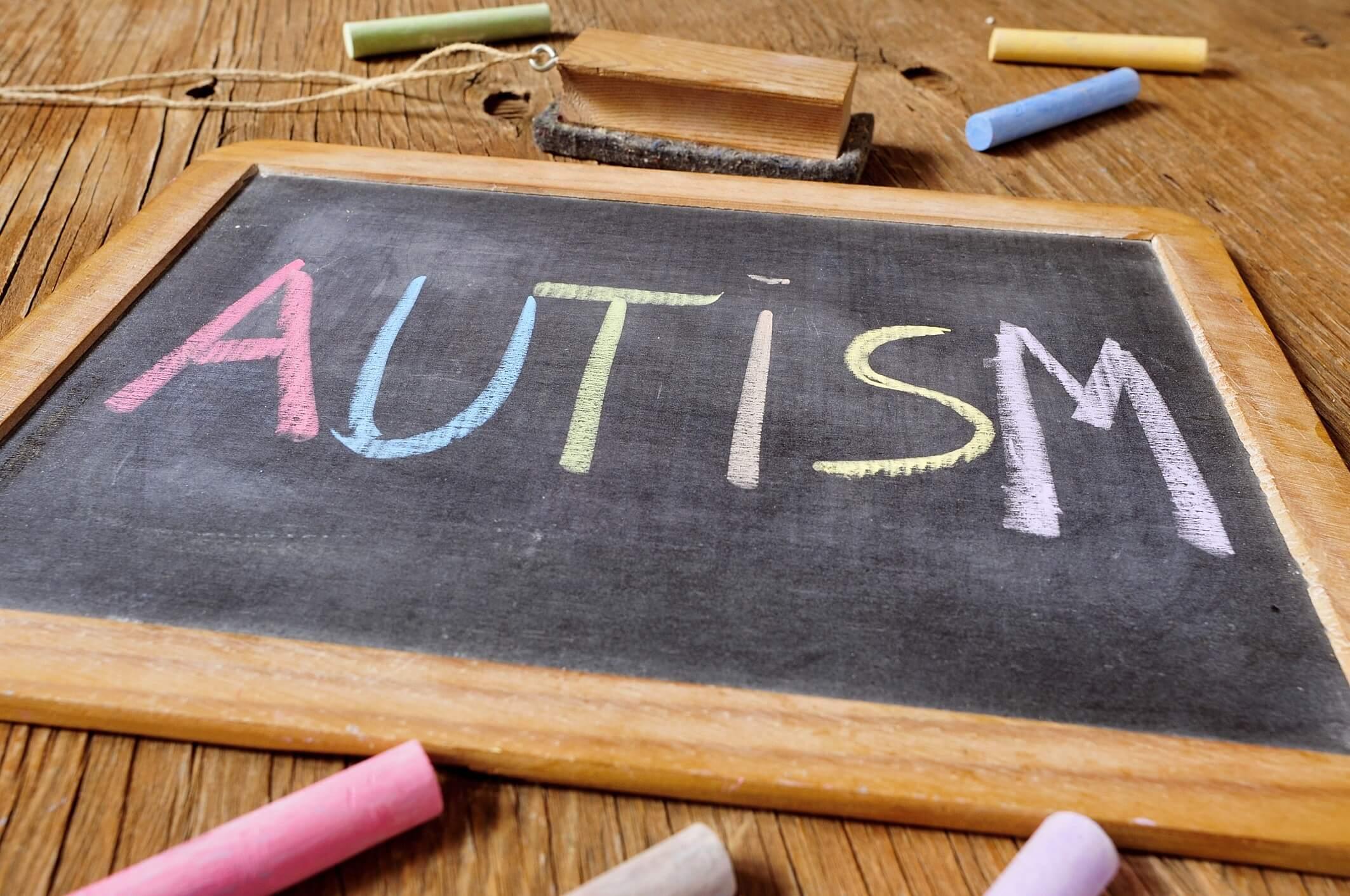 Autism written on blackboard